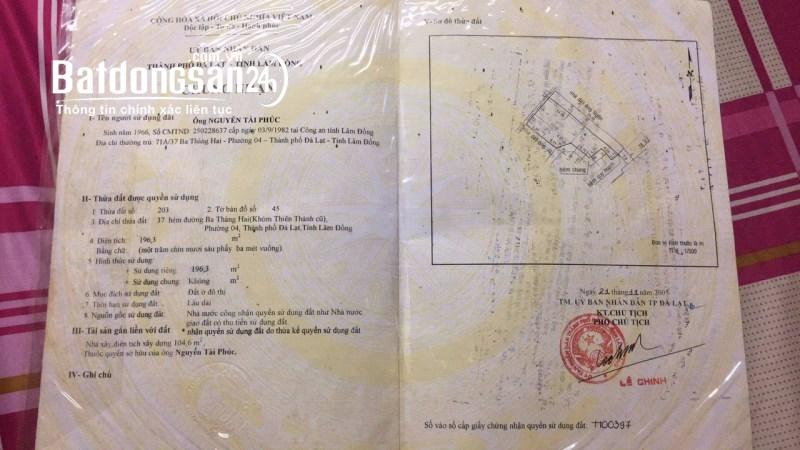 Chính chủ cần bán nhà tại phường 4, tp. Đà Lạt, tỉnh Lâm Đồng