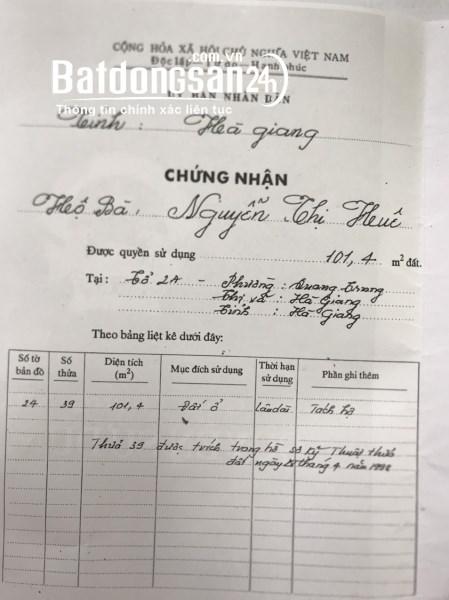 Bán đất Đường Đường 20/8, Phường Quang Trung, TP - Hà Giang
