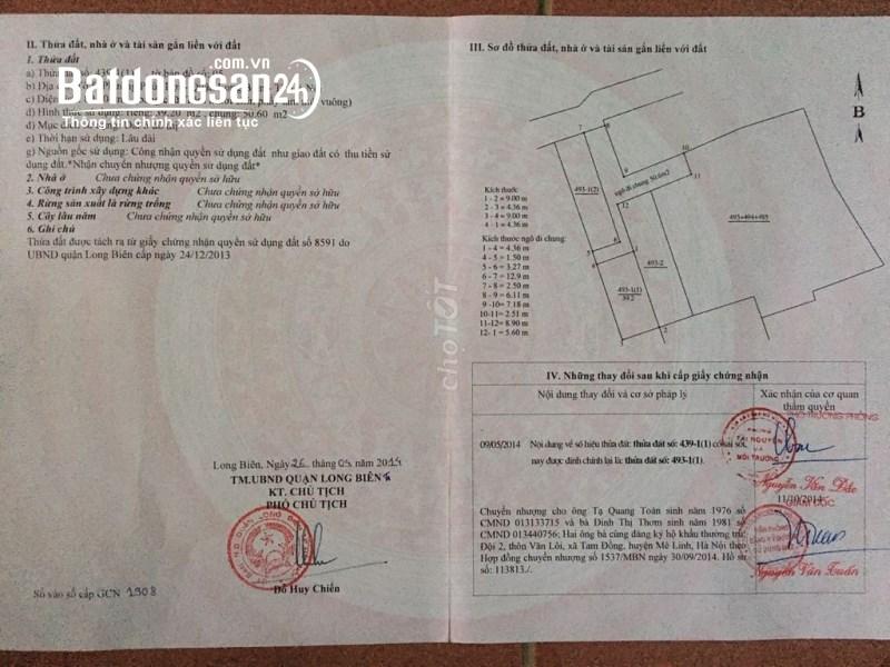 Cần bán đất đường Vũ Xuân Thiều, Phường Phúc Lợi, Quận Long Biên, Hà