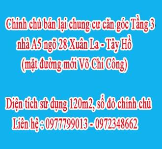 Chính chủ bán lại chung cư Căn Góc Tầng 3  nhà A5, ngõ 28 Xuân La -