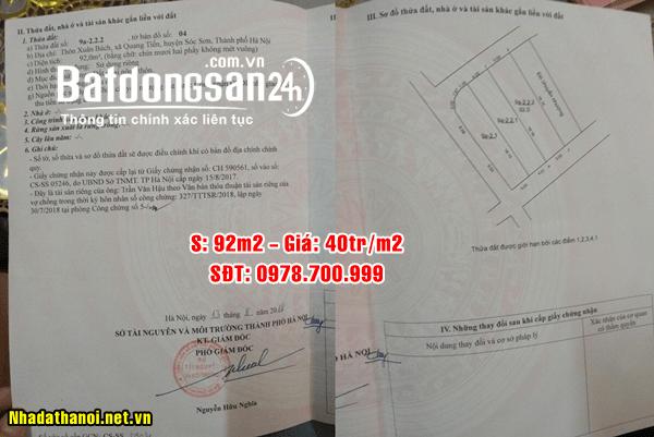 Chính chủ bán đất tại thôn Xuân Bách, Xã Quang Tiến, Sóc Sơn, Hà Nội