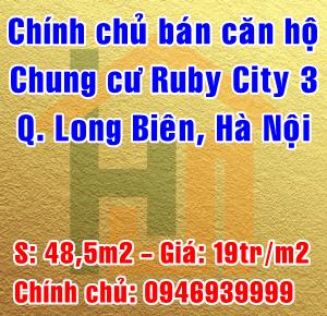 Chính chủ bán căn hộ chung cư Ruby City 3, Quận Long Biên, Hà Nội