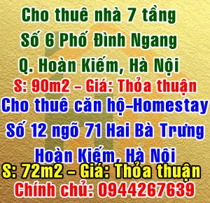 Cho thuê căn hộ hoặc Homestay số 12 ngõ 71 Phố Hai Bà Trưng, Hà Nội