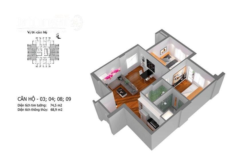 Bán căn 2 ngủ 68m2 M5 siêu mát Mipec Kiến Hưng