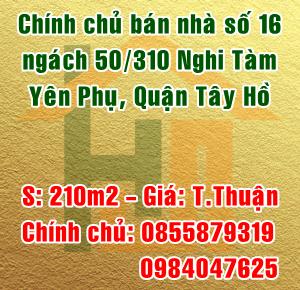 Chính chủ bán nhà số 16 ngách 50 ngõ 310 Nghi Tàm, Yên Phụ, Tây Hồ