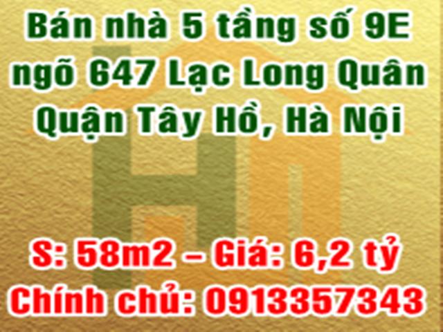 Bán nhà số 9E ngõ 647 Lạc Long Quân, Xuân La, Tây Hồ