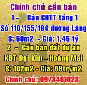 Chính chủ bán CHTT tầng 1 số 110/155/1194 Đường Láng, Quận Đống Đa, Hà Nội