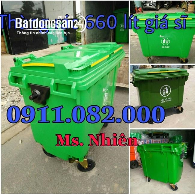 Bán thùng rác 660 lít giá rẻ tại cần thơ- thùng rác 4 bánh xe
