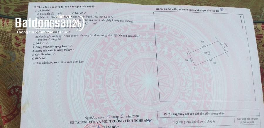 Ra nhanh lô đất cách đường 72 chỉ 300m, Xã Nghi Xuân, Huyện Nghi Lộc