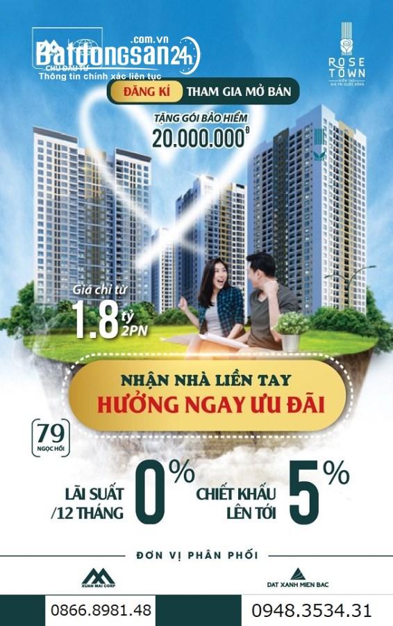 Bán căn hộ chung cư Rose Town, Đường Hoàng Liệt, Quận Hoàng Mai