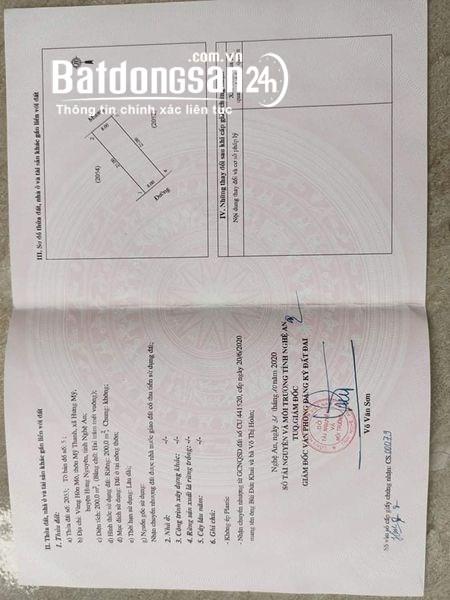 bán đất 200m2 mỹ thanh Xã Hưng Mỹ, Huyện Hưng Nguyên