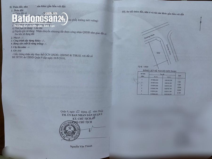 Bán đất đường Lê Văn Việt, P.Tân Phú, DT 10 X 21 giá 9,6 tỷ TL