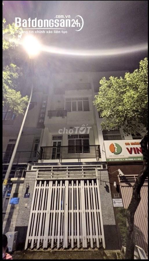 Cho thuê nhà NC 4x20 1 trệt 3 lầu 4pn Mặt tiền 55 đường 43 P Tân Phong Q7