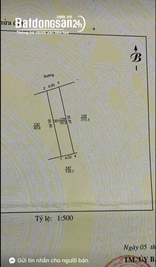 Bán đất phố Bình Lộc, ph Tân Bình, 82.5m2, mt 4m, đường ô tô, 1 tỷ 480 triệu