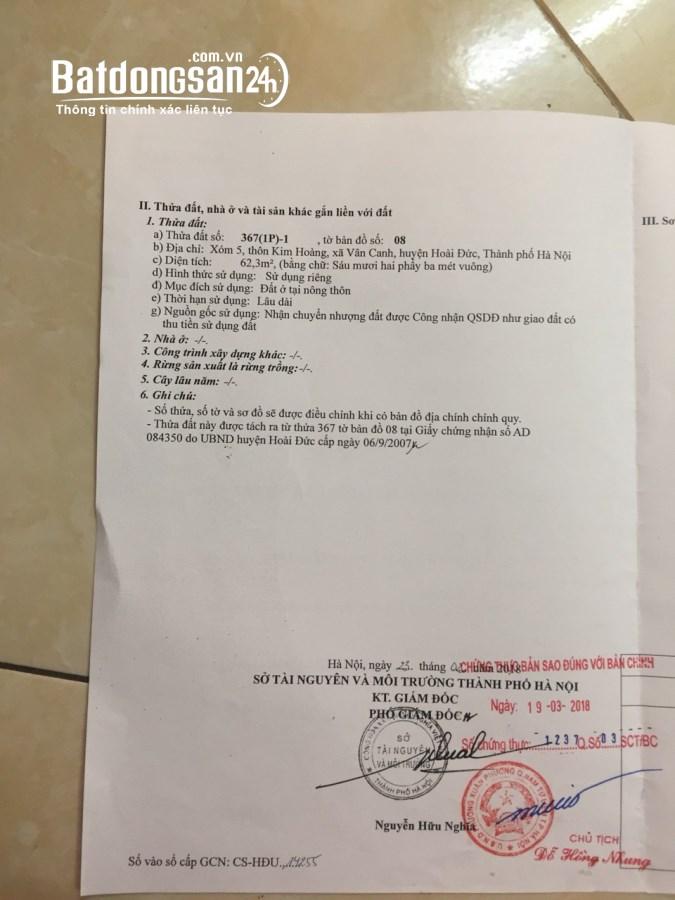 Bán đất xóm 5 Kim Hoàng, Vân Canh 62m2 giá chỉ 36 triệu