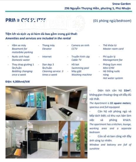 Cho thuê căn hộ dịch vụ 1PN dt 55m2 trên Đ.Nguyễn Thượng Hiền, Q.Phú Nhuận