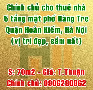 Cho thuê nhà mặt phố Hàng Tre, Phường Lý Thái Tổ, Quận Hoàn Kiếm