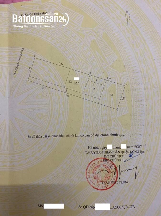Chỉ 255 triệu/m2 nhà mặt phố Nguyễn Lương Bằng 86m2, mặt tiền 4.5m