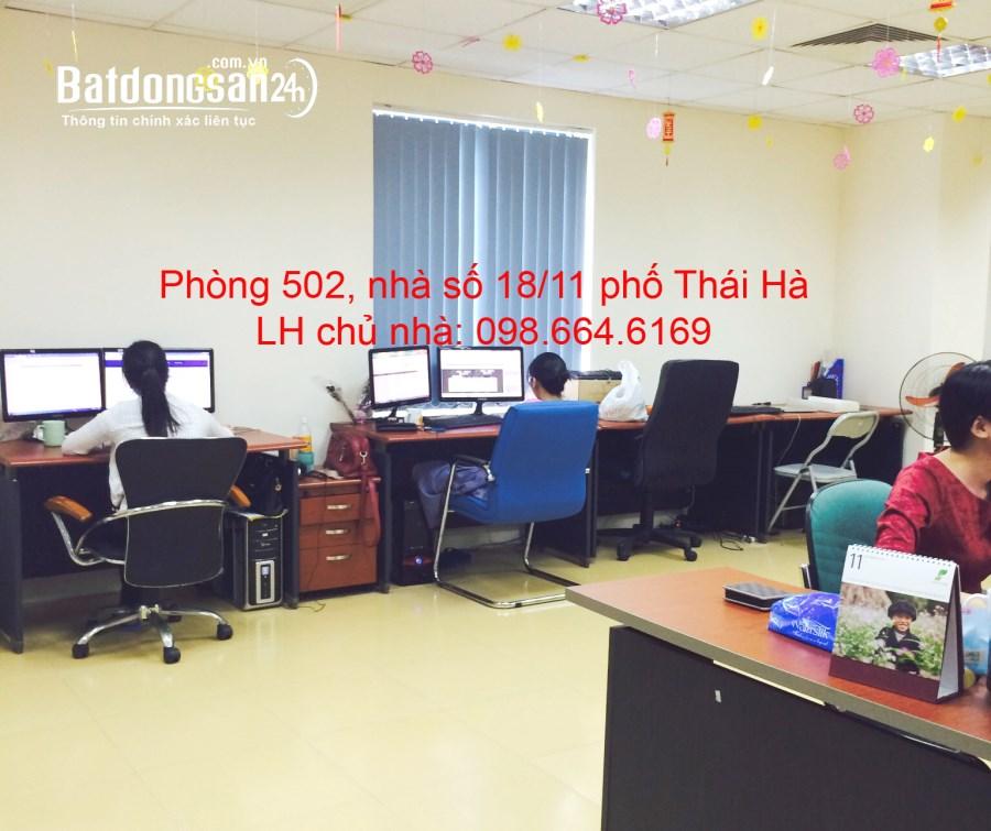 Chủ nhà cho thuê 45m2 tầng 5 tại nhà VP 9 tầng số 10 Thái Hà. Giá 10 triệu/tháng