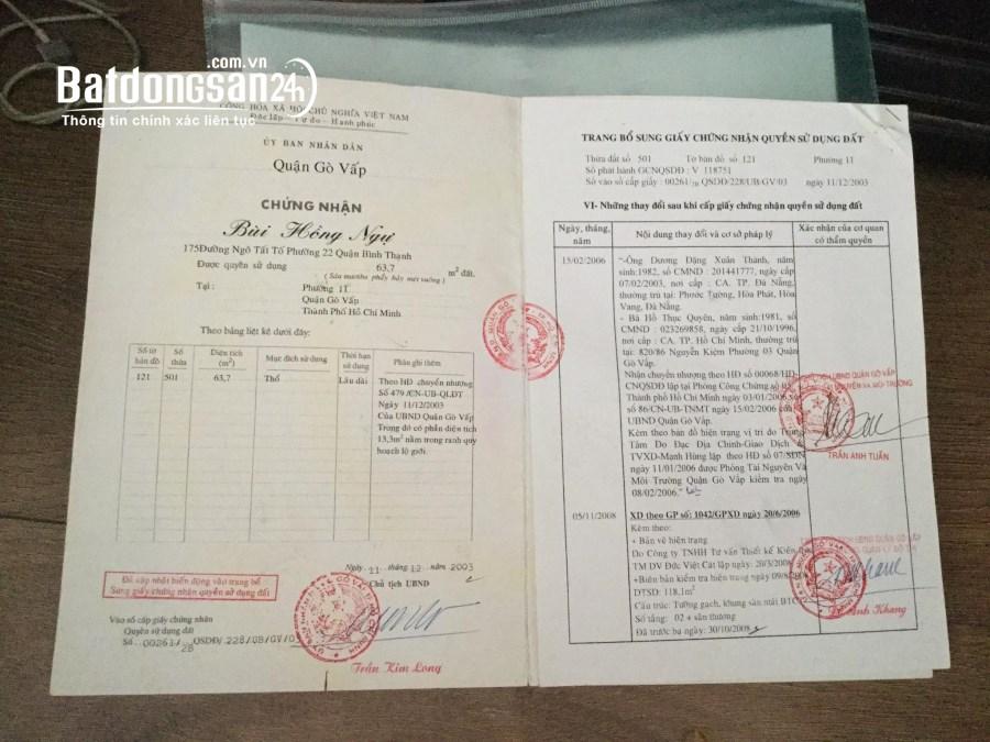 Cần vốn kinh doanh bán gấp nhà hxh Quang Trung, Phường 11, Quận Gò Vấp