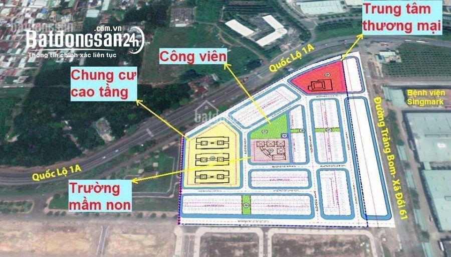 Bán đất mặt tiền Quốc Lộ 1A, Trảng Bom, 1.5tỷ, cách tt Trảng Bom 200m