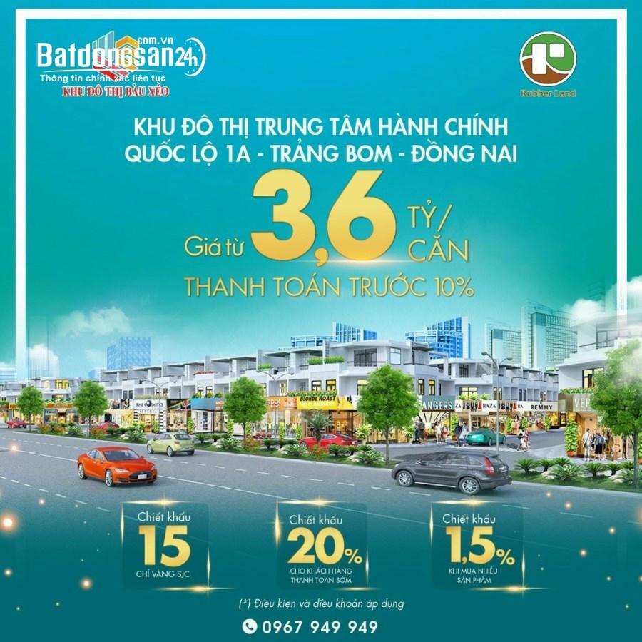 Bán đất mặt phố Khu đô thị Bàu Xéo, Đường Quốc Lộ 1A, Huyện Trảng Bom
