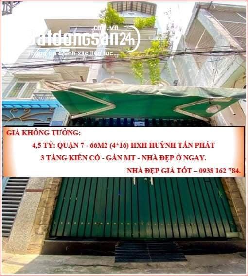 Cần bán gấp 66m2 HXH Huỳnh Tấn Phát-Quận 7-3 tầng kiên cố-Gần MT -4.5 tỷ